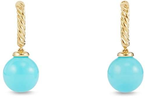 David Yurman Solari Hoop Earrings with Turquoise in 18K Gold