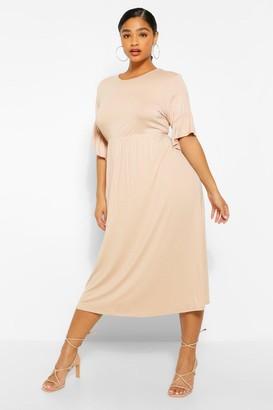 boohoo Plus Jersey Ruffle Midi Smock Dress