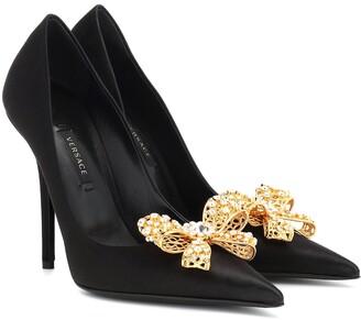 Versace Embellished satin pumps
