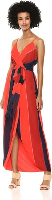 Nicole Miller Women's Fringe Faux wrap Cocktail Dress