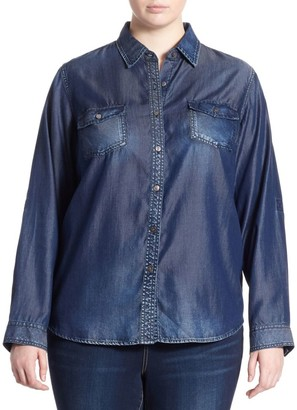 Slink Jeans, Plus Size Western Long-Sleeve Shirt