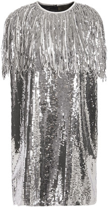 MSGM Fringe-trimmed Sequined Metallic Georgette Mini Dress