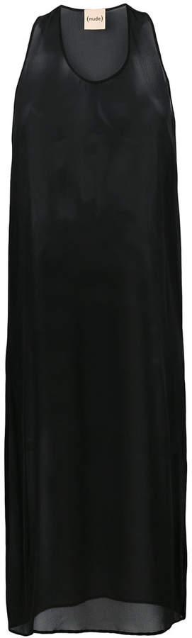 Nude semi-sheer mesh dress