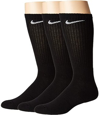 Nike Everyday Cushion Crew Socks 3-Pair Pack (Black/White) Crew Cut Socks Shoes
