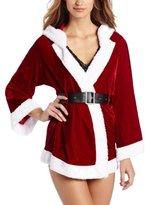 Cinema Etoile Women's Velvet with Faux Fur Hooded Short Robe, Red, Medium