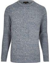 River Island MensLight blue ribbed sweater