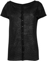 Majestic Filatures buttoned back T-shirt - women - Linen/Flax - I