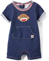 Baby Starters Navy Stripe-Trim Sock Monkey Romper - Infant