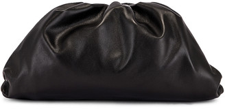 Bottega Veneta Leather Pouch Clutch in Black & Silver | FWRD