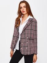 Shein Frayed Trim Pearl Button Tweed Blazer