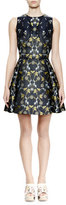 Alexander McQueen Sleeveless Fit-&-Flare Floral-Print Dress, Navy