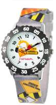 Red Balloon Kids' W000328 Construction Site Stainless Steel Time Teacher Black Bezel Printed Strap Watch
