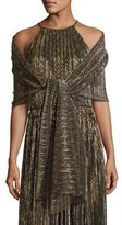 St. John Metallic Plissé Wrap, Black/Gold