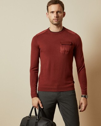 Ted Baker Crew Neck With Patch Pocket