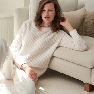 The White Company Waffle-Knit Chunky Jumper, White, Large
