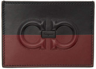 Salvatore Ferragamo Black and Red Two Tone Logo Card Holder