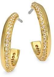 Kate Spade Women's Raise The Bar 12K Yellow Goldplated & Cubic Zirconia Pavé Huggie Hoop Earrings