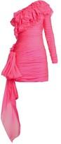 Dundas One-shoulder Tiered-ruffle Mini Dress - Womens - Pink