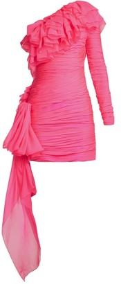 Dundas One-shoulder Tiered-ruffle Mini Dress - Womens - Pink