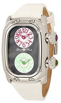Glam Rock Women's GR72408 Monogram Dual Time Black MOP Dial White Leather Watch