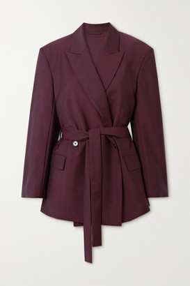 Acne Studios Belted Wool And Mohair-blend Blazer - Burgundy