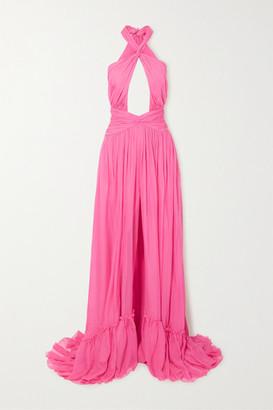 Dundas Ruched Cutout Silk-chiffon Halterneck Gown - Pink