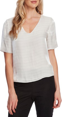 Vince Camuto Metallic Stripe V-Neck Top