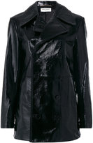 Saint Laurent double breasted Caban coat - women - Leather - 36