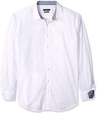 Bugatchi Men's Long Sleeve Shaped Fit Pin Striped Sport Shirt