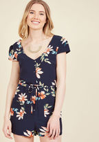Ck3999 While you're reading atop a sunbaked bench, a fashionable passerby stops to pay a passionate compliment to your navy romper. A pinch of praise becomes a full-on chat about the cap sleeves, deep pockets, and floral print of your belted onesie - and just li