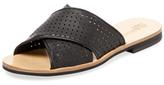 Jil Sander Navy Perforated Leather Crossover Sandal