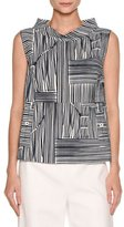 Piazza Sempione Audrey Line-Print Sleeveless Top, Navy