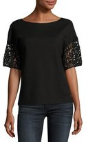 Lafayette 148 New York Lightweight Punto Milano Lace-Sleeve Top, Black