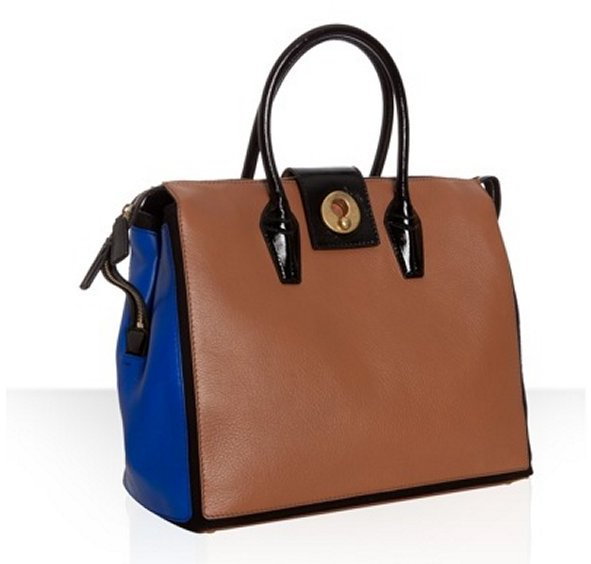 Yves Saint Laurent brown colorblock leather 'Muse Two Cabas' tote bag