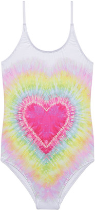 Stella Cove Girl's I Heart You Tie Dye One-Piece Swimsuit, Size 2-14