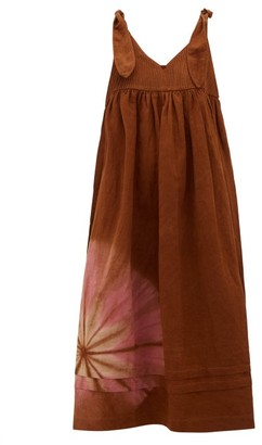 Story mfg. Daisy Tie-dyed Cotton-blend Midi Dress - Brown Multi