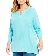 Allison Daley Plus Embroidered Notch V-Neck Knit Top