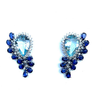 Arthur Marder Fine Jewelry 14K & Silver 6.28 Ct. Tw. Diamond & Sapphire Earrings