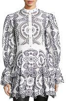 Alexander McQueen Broderie Bell Sleeve Dress