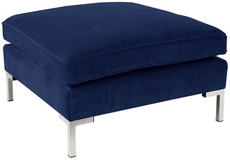 One Kings Lane Marceau Ottoman - Navy/Silver Velvet