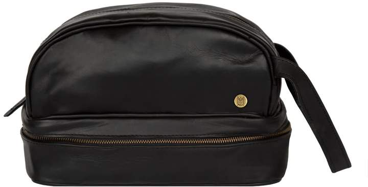 ef6e5bac95 Mahi Leather Leather Toiletry Bag Dopp Kit In Ebony Black