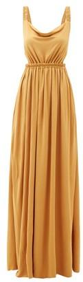 Matteau - The Cowl Open-back Jersey Maxi Dress - Womens - Yellow