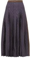 La Prestic Ouiston Gabrielle Polka-dot Print Silk Skirt - Womens - Navy Multi