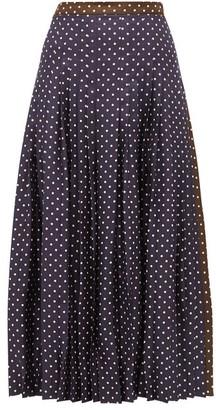 La Prestic Ouiston Gabrielle Polka Dot Print Silk Skirt - Womens - Navy Multi