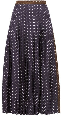 La Prestic Ouiston Gabrielle Polka-dot Silk Skirt - Womens - Navy Multi