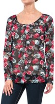 Roper Printed Mesh Peasant Blouse - Long Sleeve (For Women)