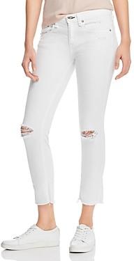 Rag & Bone Dre Distressed Cropped Slim Boyfriend Jeans in White