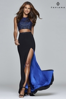 Faviana s7927 Long two-piece with embellished top and flowy skirt