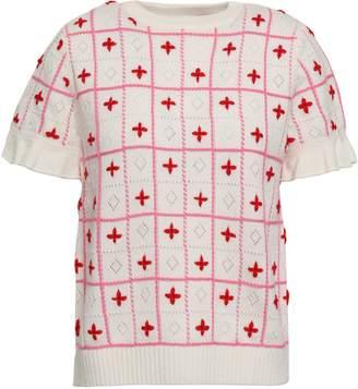 Shrimps Embroidered Wool-blend Top
