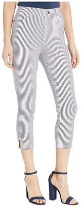 Hue Striped Ultra Soft Denim High-Waist Capris (White Stripe) Women's Jeans